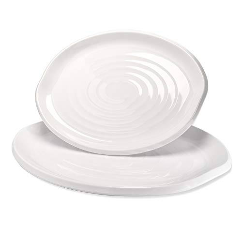 Serving Platter for Holiday Dinner, Set of 2 White Platters, Heavy Duty Durable Shatter Proof Food Party Plates, Large Plastic Dessert Dishes -