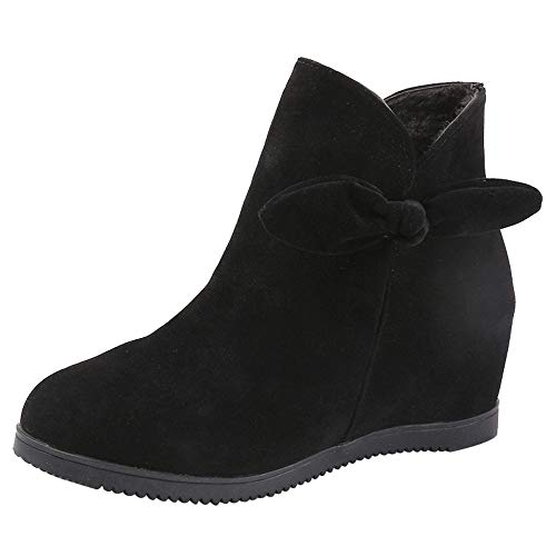 (Respctful (●˙▾˙●)Winter 2018 Shoes,Women's Fashion Heels and Pumps Solid Wedges Round Ankle Bootie Zipper Slouchy Boots Black )