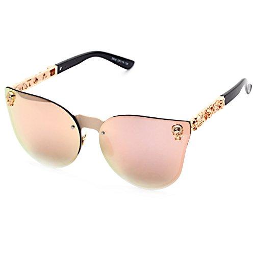 Fashion Mirrored W/ Flash Cateye Sunglass for Women Skull Stytle UV400 Rose - Skull Sunglasses