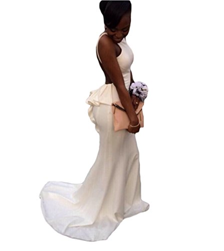 Dreagel Robes Sexy De Bal Dos Nu Longue Sirène Robe Formelle Robe De Mariée Ivoire 2018