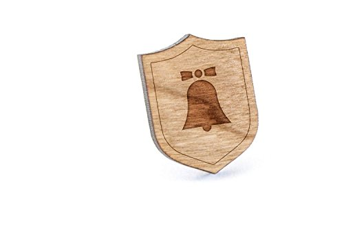 Church Bell Lapel Pin, Wooden Pin And Tie Tack | Rustic And Minimalistic Groomsmen Gifts And Wedding Accessories by Wooden Accessories Company