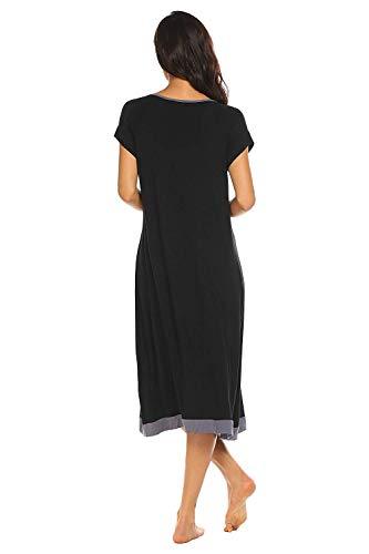 Casuales Mujer Falda Cuello Corta Para Vestido Camisa Dormir De Verano Con Schwarz Manga En Mujeres Camisón V Suelta nBYqHCwzq