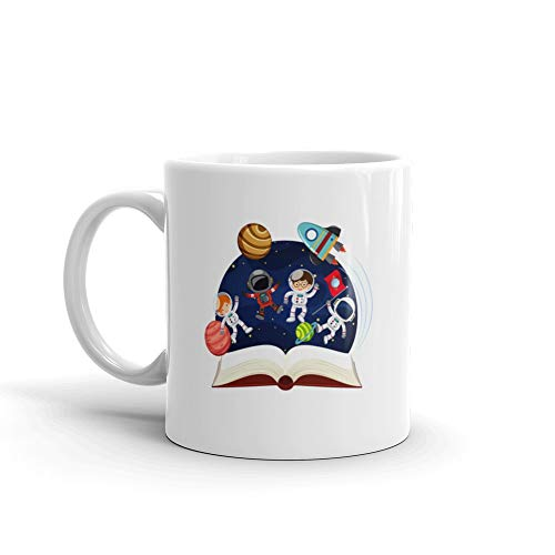 Book About Astronomy With Astronauts And Planets Astronaut Water Mug Cup Ceramic 11 Oz]()