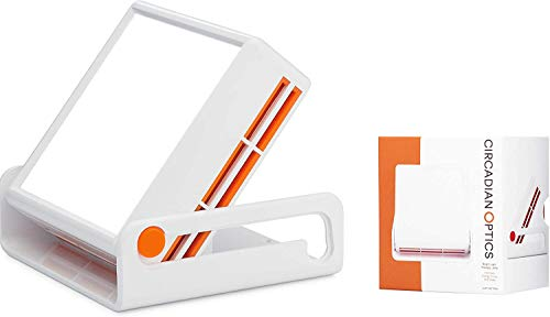 Circadian Optics Light Therapy Lamp - UV-Free LED Happy Mood Lamps for Seasonal Sunlight - Full Spectrum Sun Lights for Work from Home - Luxy (White/Orange)