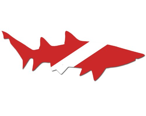 Right Facing SHARK Shaped Scuba Dive Flag Sticker (diving decal) (Shark Scuba Diving Sticker compare prices)