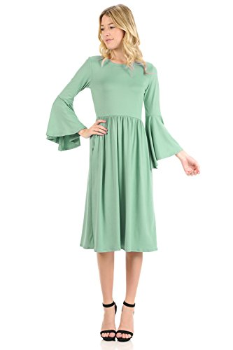 iconic luxe Women's Fit and Flare Dress with Dramatic Bell Sleeve Small Sage