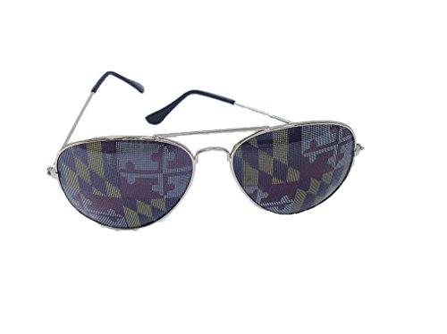 Maryland MD Flag Aviator Sunglasses (Silver Frame, MD - Maryland Sunglasses Flag