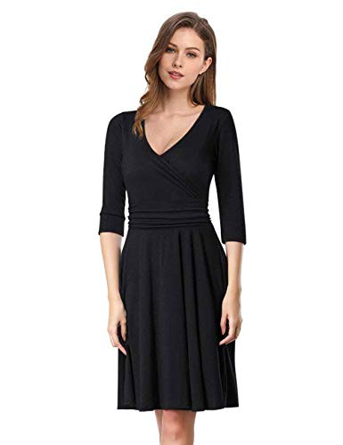 GloryStar Women's 3/4 Long Sleeve V Neck Fit Flare A Line Empire Waist Midi Swing Vintage Dress Black XXL ()