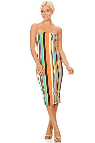(Lined Tube Top Body-Con Midi Dress/Made in USA Peach Jade Stripe S )