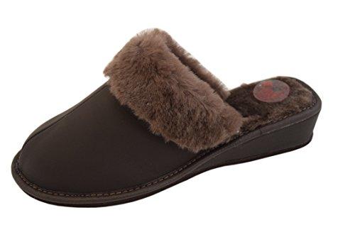 Marrón casa para de Fur Piel por Marrón marrón Slippers estar marrón Slippers mujer Sheepskin Natleat de 89 Zapatillas RCxU4xaq7