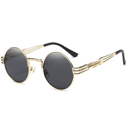 Dollger John Lennon Round Sunglasses Black Steampunk Glasses Gold Metal Frame Mirror Lens ()