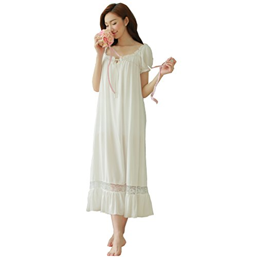 2038d8e0f8 QLX Summer Women Short Sleeve Long White Nightdress Casual Lounge S-XL -  Buy Online in Oman.