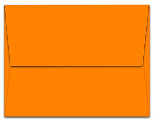 "Discount 1,000 Tangerine Zest Orange A7 Envelopes - 7.25"" x 5.25"" - Square Flap free shipping"