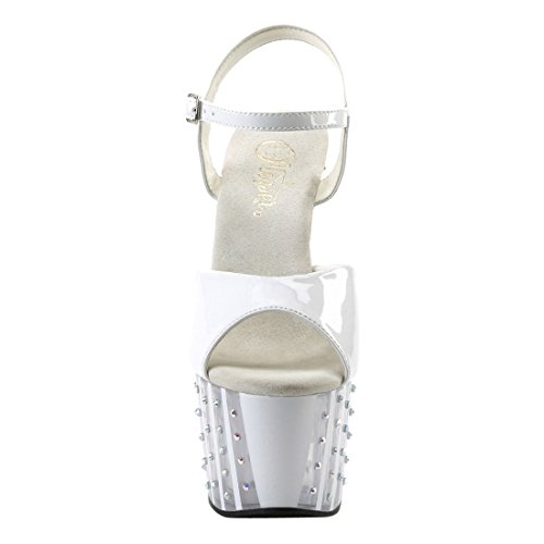 Pleaser Women's Adore-709vlrs Sandal, Blk Pat/Blk, Medium White Pat/White