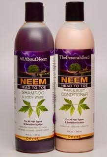 Neem Oil Neem Bark Peppermint Herbal Essentials Shampoo & Conditioner Set Head to Toe Total Body Cleansing System Gifted Wrapped by All About Neem