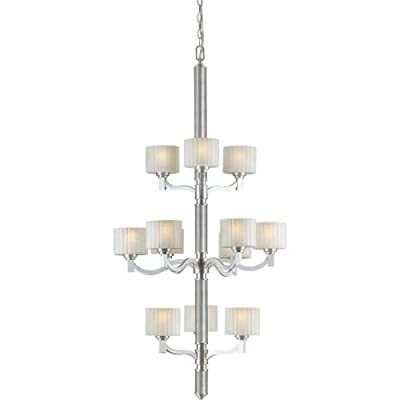 "Forte Lighting 2388-12-55 12-Light Transitional Foyer Chandelier, 30"" x 30"" x 51"", Brushed Nickel Finish with Umber Linen Glass"