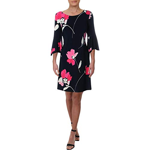 Lauren Ralph Lauren Women's Tycenda Galleria Floral Matte Jersey Dress Lighthouse Navy/Riviera Rose/Multi 8 ()