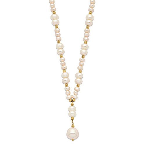 - 14k Yellow Gold 4 10mm White Mixed Shape Freshwater Cultured Pearl Drop Chain Necklace Pendant Charm Bead Station Fine Jewelry Gifts For Women For Her