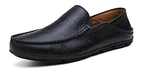 Go Tour Men's Premium Genuine Leather Casual Slip On Loafers Breathable Driving Shoes Fashion Slipper Black Fur - Men Slip