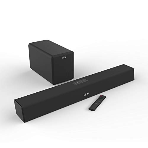 120 Watt Sound Bar with Subwoofer, MEGACRA Soundbars for TV with Bluetooth and Wired Connections, Home Theater Surround Sound, Bass Treble Adjustable, Sync Remote Design (2019 Beef Up Version) (Television Surround Sound)