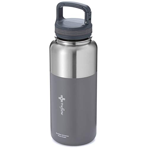 - the flow insulated water bottle with flip lid/coffee lid (Stainless grey, 32oz carabiner lid)