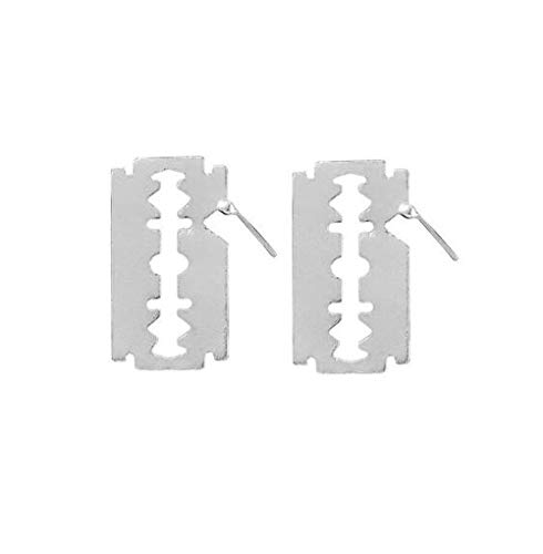 (HoGadget Women Gothic Punk Razor Blade Dangle Earrings Polished Party Wedding Jewelry (Silver))