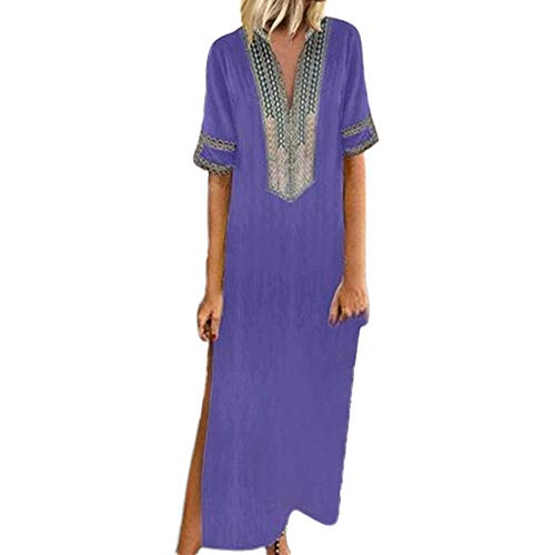〓LYN Star〓 Women's Boho Split Tie-Waist Vintage Print Maxi Dress Bohemian Floral Printed Wrap Beach Party Maxi Dress Purple