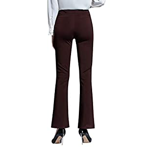 ABCWOO Women's High Waisted Yoga Office Pants Stretch Dress Work Slacks Business Casual Flare Trousers Burgundy US 14