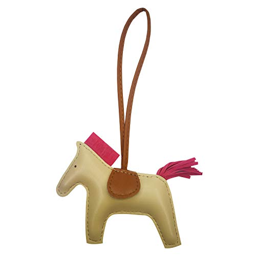 Horse Leather Accessories - Bag Charm for Women Purse Charm Horse Leather Keychain Handbag Accessories (Offwhite)
