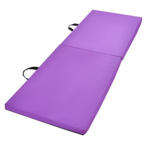 "Exercise Mat Purple 6'x2'x1.5"" Gymnastics Mat Thick Two Folding Panel Gym Fitness Exercise with Ebook"