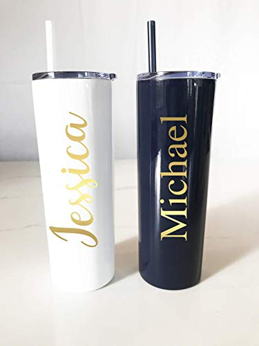 (Personalized Metal Tumbler Straw | Personalized Tumbler | Skinny Metal Tumbler | Bachelorette Party | Girls Trip Tumblers | Birthday Active)