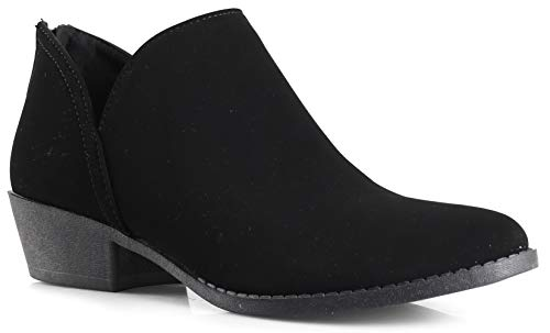 LUSTHAVE Women's Drew Western Almond Round Toe Slip on Bootie - Low Stack Heel - Zip Up - Casual Ankle Boot Black PU 5 for $<!--$32.99-->