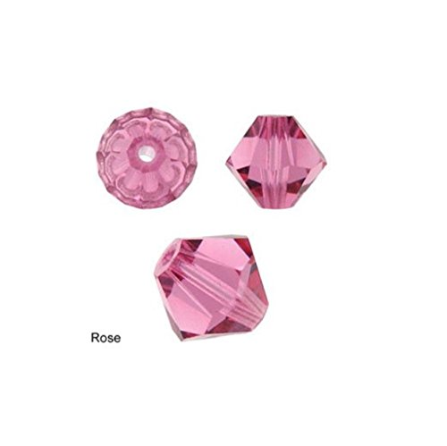 Bicone Bead Rose (100pcs Genuine Preciosa Bicone Crystal Beads 4mm Rose Alternatives For Swarovski #5301/5328 #preb437)