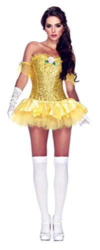Leg Avenue Women's 3 Piece Enchanting Beauty Costume, Yellow, Medium (Princess Corset)