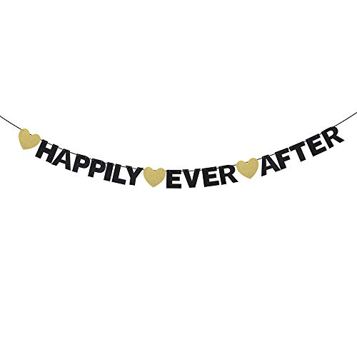 Happily Ever After Wedding Banner - Happy in Love Cinderella Fairy Tale Wedding - Bachelorette Engagement Party Décor - Princess Bridal Shower Hanging ()