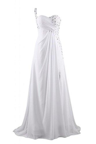 da abiti tracolla d'onore scollo Gowns a un da Maxi sera Sunvary damigella Bianco abito elegante 10AHH4