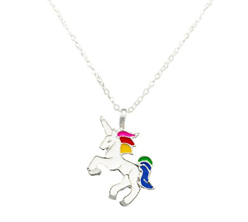 Unicorn Pendant Necklace, Colorful Rainbow Unicorn Necklace (Silver) (Rainbow Pendant Necklace)