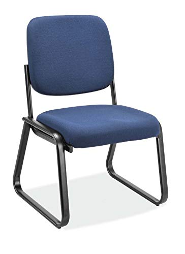 OfficeSource 2709F9114 Office Armless Guest Chair,Upholstered Seat & Back, Black Metal Sled Frame, Lobby, Reception, Waiting Rooms, Without Arms, Navy Accents Express Upholstered Chair