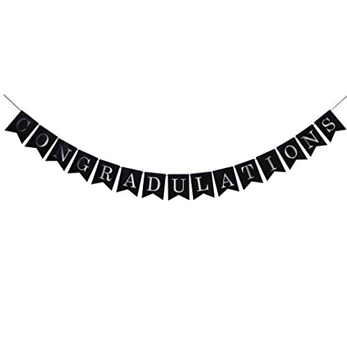Congradulations Banner - Party Decorations of Retirement/Promotion/Graduation/Wedding/Engagement/Pregnancy/New Job/New Home/New Baby (Black and Silver) ()