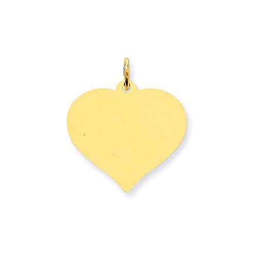 14k Gold Heart Disc Charm Pendant (0.94 in x 0.79