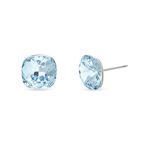 Devin Rose Cushion Solitaire Stud Earrings for Women in Stainless Steel made with Swarovski Crystals (Light Blue Color)