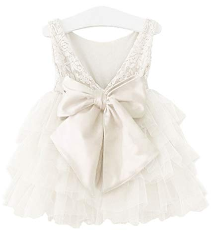 APRIL GIRL Flower Girl Dress, Lace Dress 3/4 Sleeve Dress (White Tutu, 2T) -