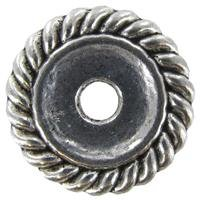 18mm Antique Silver Rope Edge Metal Spacer BeadsNew by: CC
