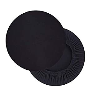 Hengshitong Funda para taburete, redonda, 2 unidades, elástica, redonda, lavable, redonda, color negro