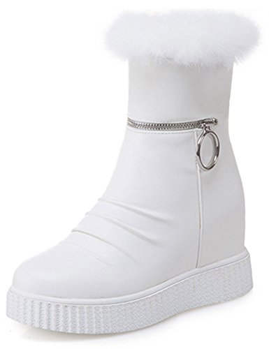 Easemax Women's Sweet Fluffy Fur High Wedged Heels Inside Round Toe Zip Up Mid Calf Snow Boots White