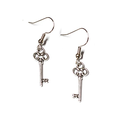 Miniature Skeleton Key Silver Toned Charm Earrings