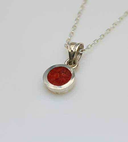 Circle-shaped Coral Gemstone Mosaic Sterling Silver Necklace 16.1'' to 17.7 inches, Adjustable Chain, Semi Precious Stone from Handmade Studio