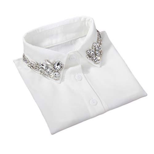 Yanhonin - Cuello desmontable para mujer, falso collar de camisa con estrás, decoración de ropa, cuello liso básico desmontable blanco: Amazon.es: Ropa y accesorios