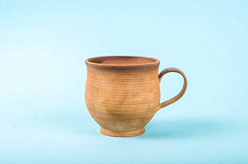 (Rustic Pottery Espresso Mug 5 oz - Unique Rowe Tea Cup from Clay and Milk - Handmade Farmhouse Coffee Mugs Earthenware - Handcrafted Pottery Gifts for Men)