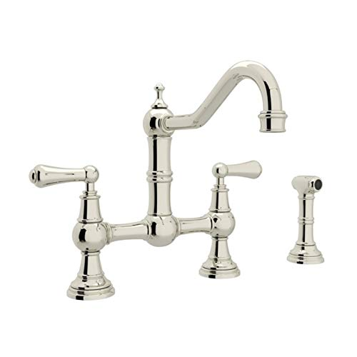 Rohl U.4756L-PN-2 Perrin and Rowe Provence Lever Handle Bridge Kitchen Faucet with Sidespray Rinse in Polished Nickel